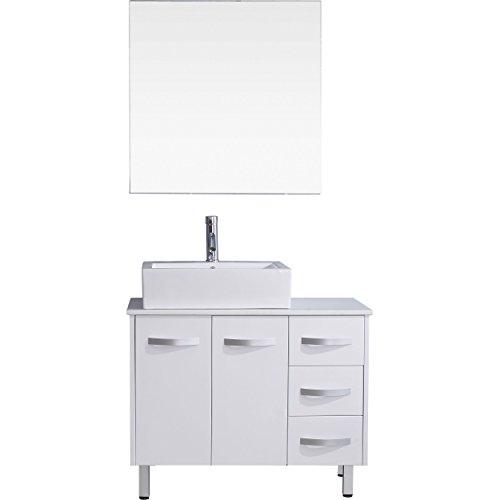 Virtu USA Tilda 36 inch Single Sink Bathroom Vanity Set in White w/Square Vessel Sink, White Engineered Stone Countertop, Single Hole Polished Chrome, 1 Mirror - UM-3069-S-WH
