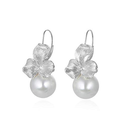 WOZUIMEI Chinese Style Earrings Eardrop S925 Sterling Silver Shell Beads Earrings Small Flower Earrings Temperament Personality Trendy Earrings Trendywhite