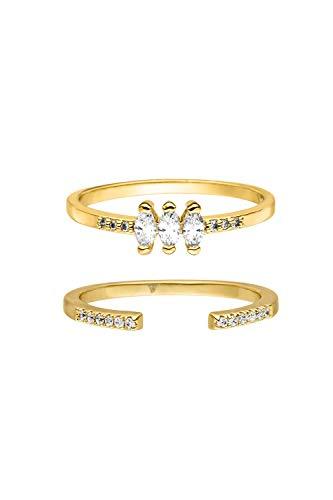 PAUL VALENTINE  Anillo para mujeres - Juego de anillos Marquise en varias dimensiones - Oro de 18K - Con circonia de calidad superior - Joyas para mujeres