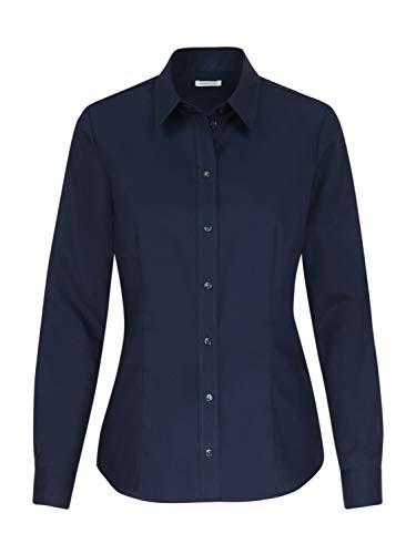 Seidensticker Damen Bügelfreie, taillierte Hemdbluse-Regular Fit-Hemdbluse-Langarm-100% Baumwolle Bluse, Dunkelblau, 50