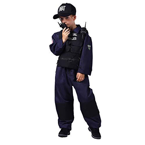 WOOOOZY Kinder-Kostüm SWAT-Anzug Komplett, Gr. 128 - inklusive praktischem Kleidersack