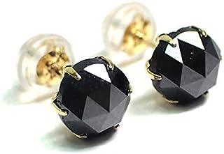【Feli Premium Jewelry】輝きのあるシャイニーブラック K18YGブラックダイヤモンドピアス計2.00ct 18金 一粒ダイヤピアス ブラックダイヤピアス 各1.00ct 鑑別付