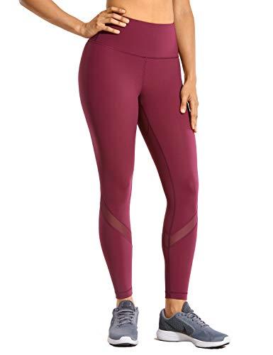 CRZ YOGA Naked Feeling Women's High Waist Mesh Leggings Tummy Control Workout Leggings with Zip Pocket-25 Inches Hazy Purple M