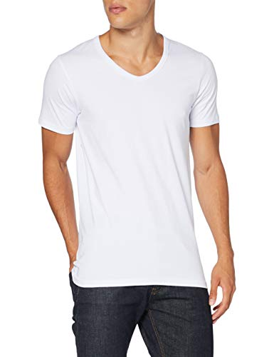 JACK & JONES Herren T-Shirt Basic V-neck Tee S/S Noos, Einfarbig, WeiÃY (Opt White), S