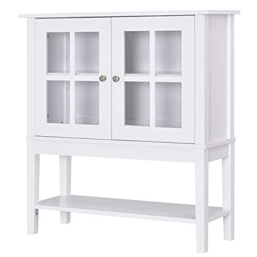 HOMCOM Modern Kitchen Credenza & Sideboard Buffet Cabinet with 2 Swinging Glass Doors & Ample Storage Space, White