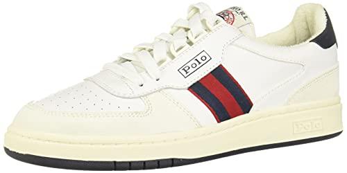 Polo Ralph Lauren Herren Polo Court Turnschuh, Weiß/Newport Nvy/Rl2000 Rot, 44.5 EU