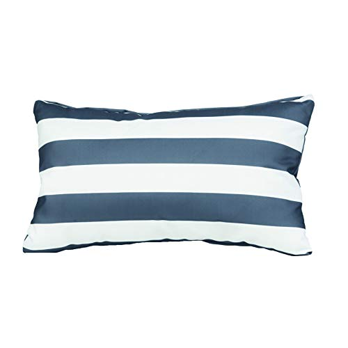 Gardenista Garden Outdoor Scatter Cushion | Patio Rattan Chair Patterned Furniture Throw Pillow | Water Resistant | Hypoallergenic Hollowfibre Filled | 12' x 20' (Charcoal Stripe)
