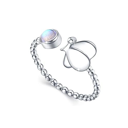 Mondstein Schmetterling Ring 925 Sterling Silber Offener Ring für Damen Synthetischer Mondstein Schmuck Verstellbar Ring für Freundin Mutter