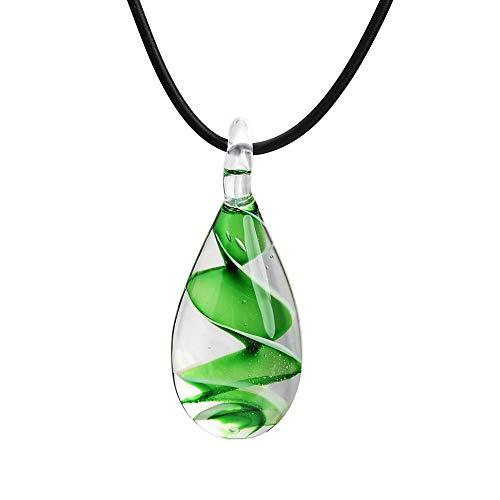 AIUIN Tropfenförmige Sleek Spiralmuster Glas Anhänger Halskette, mit einer Schmuck Tasche
