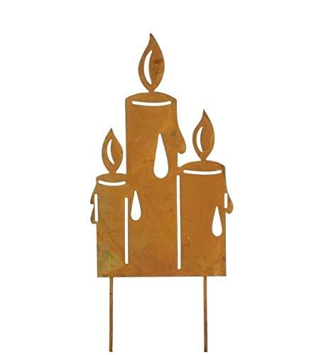RiloStore 26x10cm KERZENGRUPPE rost Farben Metall Kerze Flamme Rostflamme Deko Flammen Herbstdeko Weihnachtsdeko Gartendeko Metallkerzen
