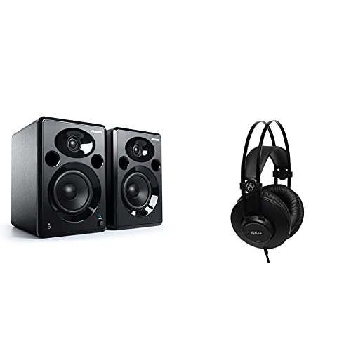 Alesis Elevate 5 Mkii Pareja De Altavoces De Escritorio Y Monitores De Estudio Amplificados, para Producción Musical, Pc/Mac + Akg K52 Closed Back Auriculares, 18 20000 Hz, 200 MW