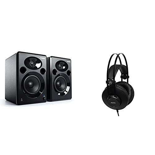 Alesis Elevate 5 Mkii - Casse Pc Attivi Da Scrivania Con Audio Professionale Per Home Studio, Editing Video, Gaming E Dispositivi Portatili & Akg K52 Closed Back Cuffie, Nero