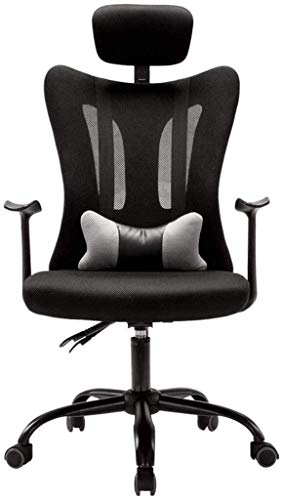 BLLXMX Reclining Office Desk Chair Office Swivel Armchair | Adjustable High Back Ergonomic Computer Mesh Recliner | Home Office Chairs with Lumbar Support (Color : Black, Size : 64cm64cm120cm)