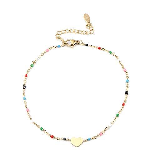 CHIY-GBC Tobillera de Acero Inoxidable corazón Color Dorado Esmalte en pie Pulseras de Tobillo Mujeres Hombres Pierna Cadena de eslabones joyería 23cm