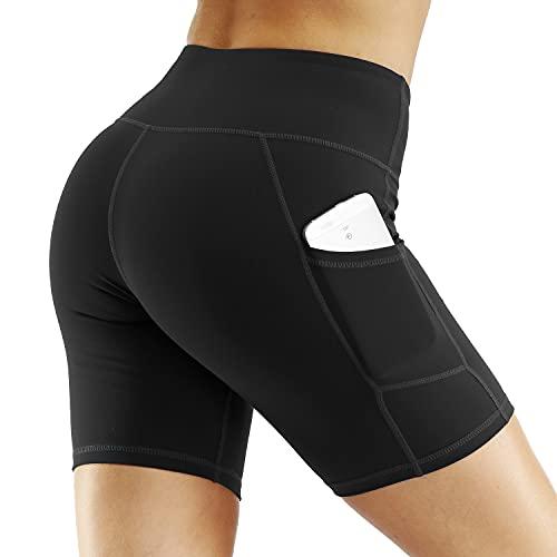 Nekosi Pantaloncini corti da donna, per fitness, sport, a vita alta, con tasche, Nero , XXL