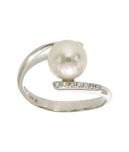 Orolab Anello contrariè in Oro Bianco 750 18kt con Diamanti e Perla - N305