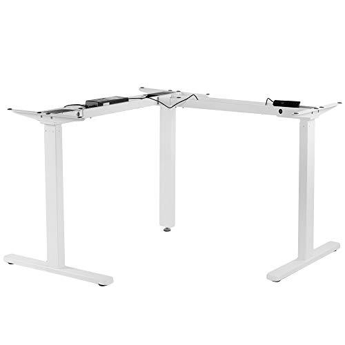 VIVO Electric Multi-Motor Height Adjustable Corner 3 Leg Standing Desk Frame, Frame Only, Sit Stand Ergonomic L Frame with Push Button Controller, White, DESK-V123EW