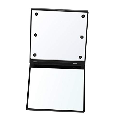 Square Cosmetic Mirror Dual Sided Illuminated Foldable 6 LED Light Makeup Mirror Travel Foldable Durable