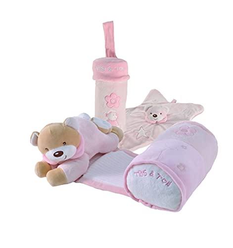 Tris & Ton Pack Regalo recién Nacido Osito Siesta Musical, Doudou Estrella y portabiberón Cesta Original niño niña (trisyton) (Rosa)