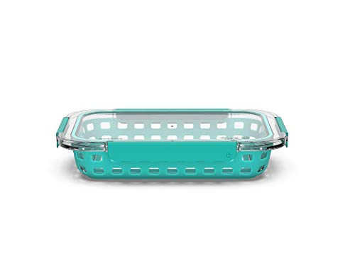 Ello Duraglass Bakeware - Glass Baking Dish with Airtight Lid and Silicone Sleeve Trivet - Freezer to Oven Safe (7 x 11-2 Quart, Aquaviva)