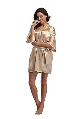 Luvrobes Women's Satin Kimono Robe, Solid Color, Short(Champagne Gold, M)
