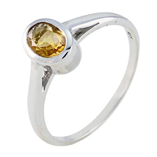 joyas plata bonita piedra preciosa forma ovalada una piedra anillo citrino facetado - anillo citrino amarillo plata maciza - nacimiento de junio géminis
