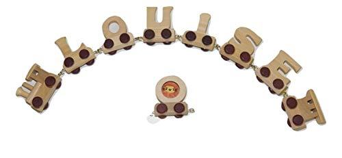 Buchstabenzug Namens-Set 6 Buchstaben Namen (kostenfreie Loc, Waggon & Fotozug) | Fun World Toys® Buchstaben Zug Holz Name