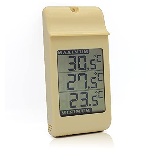 FISHTEC Termometro Visualizzazione Digitale grandi cifre - Impermeabile IPX4 - Interno ed esterno Giardino con gancio murale - Memoria delle Temperature Minime e Massime - 16 CM x 8 CM - Beige
