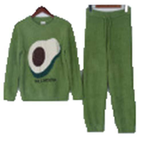 Pijamas para Mujer Otoño Invierno Plus Terciopelo de Punto Cálido Estampado de Aguacate Mangas largas Ropa Exterior para el hogar Traje Informal de Dos Piezas