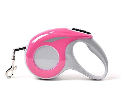 Rollce Pink Retractable Dog Leash with Tangle-Free Strong Nylon Tape Ergonomic Handle One Button Lock System 360° rotatable Metal Buckle (5M/16FT, Pink)