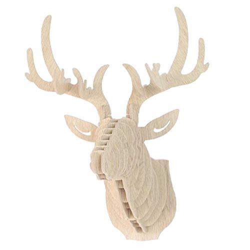 Tubayia - Figura Decorativa de Cabeza de Ciervo en 3D (Madera)