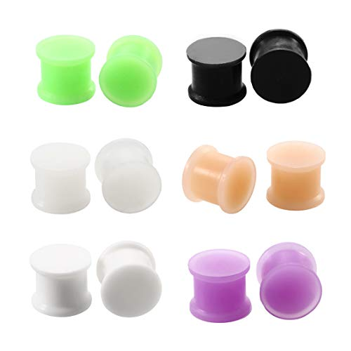 AVYRING 12 Piezas Silicona Dilatacion Oreja Ear Gauge Oreja Tunnel Plugs Stretching Kit Double Flared Flesh Tunnels Ensillar Expansor Set 16mm