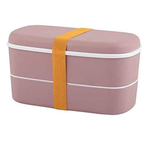 LINGNING - Caja de almuerzo con 2 capas para microondas con compartimentos a prueba de fugas con palillos aislados