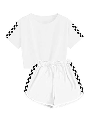 Ybenlover - Set da 2 pezzi per bambini e bambine, con pantaloncini e pantaloni sportivi, set pigiama, bianco, 5-6 Anni