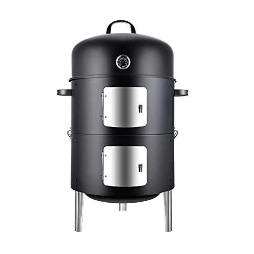 Parrilla de carbón para barbacoa, parrilla ahumado barbacoa 3 en 1alta resistencia, acampar el jardín, parrilla para cocinar al aire libre, utilizada para fiestas cocina al aire libre (86x56x43cm)