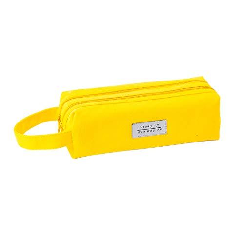 iSuperb ペンケース 大容量 多機能 筆箱ペンポーチ ポータブル 二重層 ジッパー付き 誕生日 進学 新学期 6色 (イエロー)