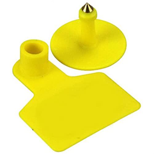 Ohrmarke 100 stücke TPU-Ohr-Tag-Zeichen ohne Worte Ohr-Tags-Tippen Kupfer-Kopf-Ohrringe Bauernhof-Tier-Identifikationskarte Einfach zu verwenden (Color : Yellow)