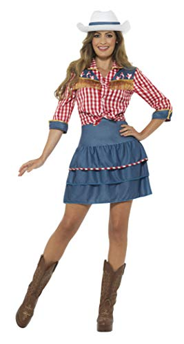Smiffys-24648s Disfraz de muñeca de Rodeo, con Falda, Camisa y Gorro, Color Azul, S-EU Tamaño 36-38 (Smiffy