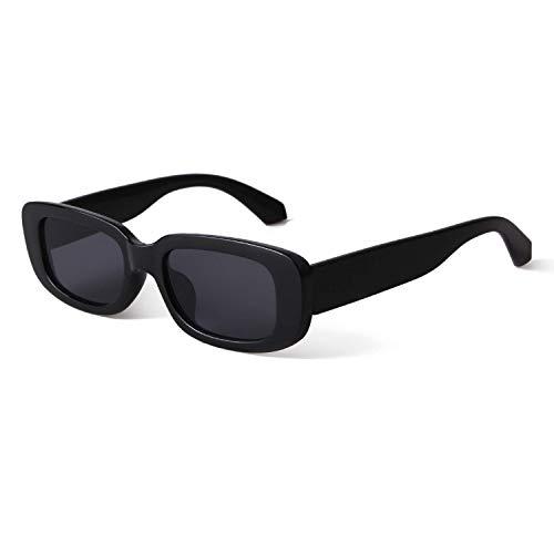 BUTABY Rectangle Sunglasses for Women Retro Driving Glasses 90's Vintage Fashion Narrow Square Frame UV400 Protection Black