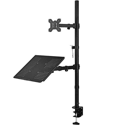 WALI Extra Tall Single LCD Monitor Stand Desk Mount with Laptop Tray for 1 Laptop Notebook and 1 LCD Monitor Mount, Fully Adjustable Fits up to 17 inch Notebook and 27 inch Display (M001XLLP), Black. Buy it now for 59.99