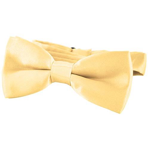 DonDon® Edle Kinder Fliege gebunden und längenverstellbar 9 x 4,5 cm gold glänzend in Seiden Look