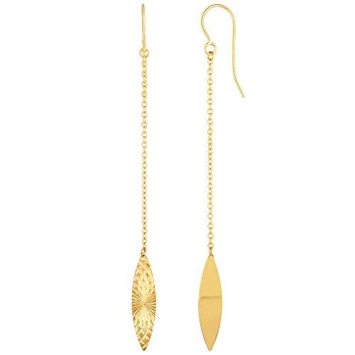 14K Amarillo Oro Diamante Corte Marquise Disco Pendientes De Gota