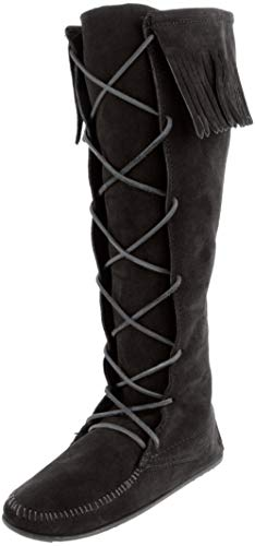 Minnetonka Women's Front Lace Knee High Boots 6 M Black