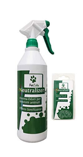 PetZolla Neutralizer + 1 Ricarica - Elimina Odori con Effetto Sanificante (Spray con 1 bustina da 5gr. Inclusa + 1 Ricarica)