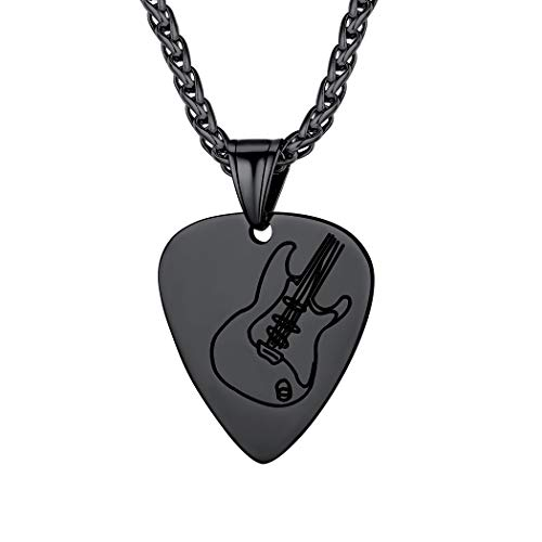 Black Guitar Pick Charm for Men Women Personalized Music Lover Jewelry Stainless Steel Rock Electric Guitar Bass Pendant Necklace