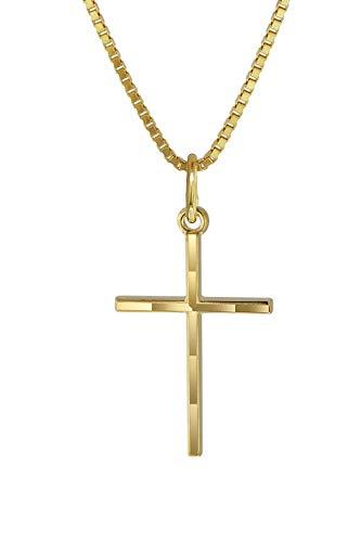 trendor Kreuz-Anhänger Gold 333 mit goldplattierter Kette Kinder Halskette, Gold Kreuz Anhänger für Jungen und Mädchen, Geschenk aus Echtgold 08492-45 45 cm