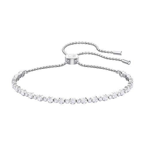 Swarovski Women's Subtle Bracelet, Brilliant White Crystals with Rhodium Plated Metal Chain, Adjustable Bolo Closure, Swarovski Subtle Collection