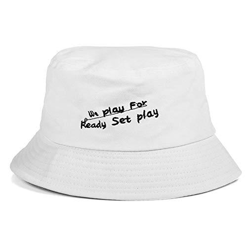 Bucket Hat Chapeau Chapeaux De Seau Bon Ami Voyage Plage Bord De Mer Vacances Chapeau De Pêcheur Plat Casquettes De Protection Solaire 56-58Cm Blanc