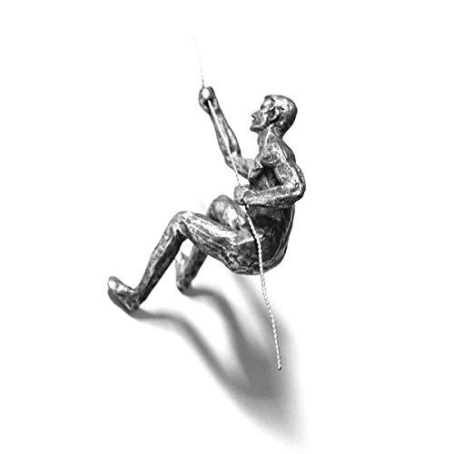 3 x große Antik Silber Klettern Abseilen Trio hängenden Ornamenten Figuren Set von 3 Klettern Männer Wandbehang Figuren Abseilen Ornament Skulptur Wandkunst Harz & Metall Bungee Jumping Man