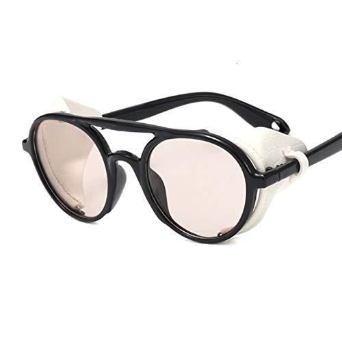NJJX Gafas De Sol Vintage Para Hombre Y Mujer, Gafas De Sol Steampunk Redondas, Gafas De Cuero De Moda Para Hombre Y Mujer, Negro, Blanco